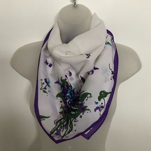 VTG Beautiful Violet Flower Bouquet Square Scarf